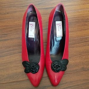 Phyllis Poland Red Heel & Blk Flower